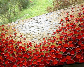 Painting on canvas Poppy Field palette knife technique extra texture by Nizamas