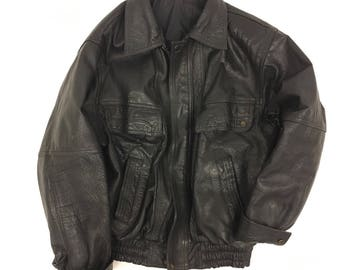 Vintage Black Leather Jacket - 1970's -zip up bomber coat  - Genuine Leather - Mens Clothing M/L