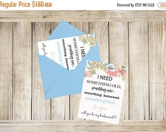 SALE 15% Sale Ends Sunday Bridesmaid Proposal Card, Will you Be My Bridesmaid Card/Maid of Honor/Matron of Honor/Flower Girl, Something Blue