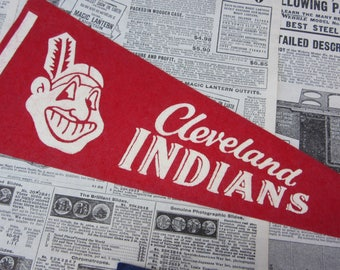 Rare Vintage Cleveland Indians Baseball Pennant 15 Inch Pennant Banner Flag 1960s Era Collectible Vintage Sports Room Decor Old Baseball