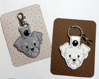 Schnauzer Wauzer Dog Snap Tab Key Fob, Purse Charm, Schnauzer Key Chain