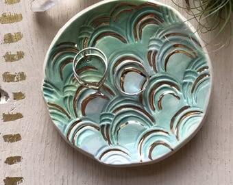 Turquoise mermaid trinket dish, turquoise & gold, handmade ceramic, turquoise ombre