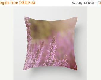 Christmas in July Decorative Throw Pillow Cover Purple Lavender Orchid Romantic Green Flower Floral Shabby Chic Cottage Custom Photo Case Ho