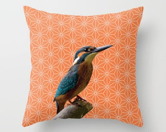 5 colours, Kingfisher Photo Pattern Montage, Celosia Orange, Polygon Pattern, Birds Nature pillow, Faux Down Insert, Indoor or Outdoor cover