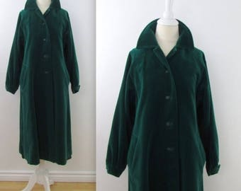 SALE 70s Velvet Swing Coat in Emerald Green - Vintage 1970s Lou Ritchie 3/4 A Line Coat in Medium Large