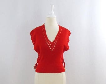 SALE Cherry Pop Sweater Vest -  Vintage 1970s Women's Red Sleeveless Top in Small