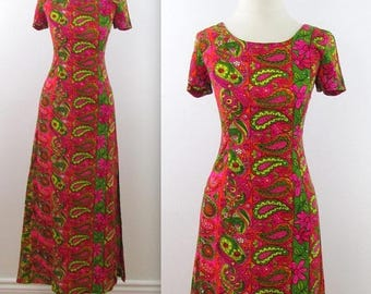 SALE Blooming Paisley Party Dress - Vintage 1970s Fitted Column Dress in Small