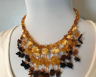 "GENUINE Baltic Amber ADULT Necklace - Ombre Lemon, Honey, Cognac, & Cherry Baltic Amber Beads- (18-19"") - semi Choker"