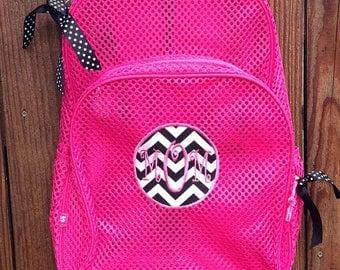 Monogram Mesh Backpack, Monogram Kids Backpack, Monogram Applique Backpack, Monogram Chevron Backpack, Monogram Patch Backpack