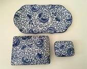 Vintage Takahashi Blue and White Phoenix 3 pc Set, Tray, Trinket Box, Card Holder