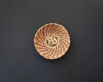 Vintage Round Natural Woven Straw Basket