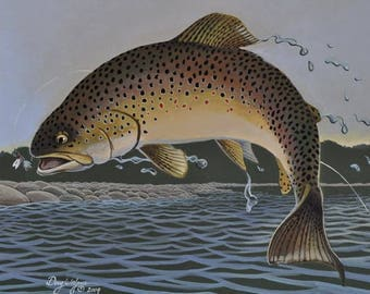 Brown Trout Original Painting by Doug Walpus, Fly Fishing, Wall Decor, 11 x14, Watercolor, Home Decor, Fishermans Gift, Art and Collectibles