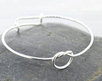 Love Knot Bangle Bracelet, Love Knot Adjustable Bangle Bracelet, Love Knot Jewelry, Bracelet Silver, Gift For Mom, Adjustable Bangle