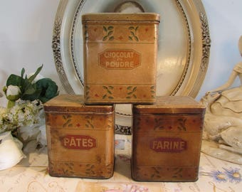Vintage French country set of three fabulous old storage tins / cannisters.