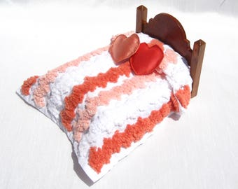 Dollhouse Chenille Bedspread Miniature Bedding Dollhouse Bedspread Orange 12th Scale Bedspread Small Doll Bedding Mini Double Size Bedspread