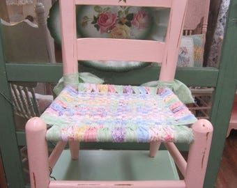Hand Painted Vintage Child Children Chair Woven Seat Farmhouse Shabby Cottage Chic