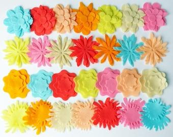 Felt Flower. Flowers for bouquets, flowers for hairbands. 91 pieces. Felt Shapes, Die Cut Shape, Applique, Wedding, Flowers for table decor