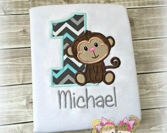 Boys Monkey birthday shirt - first birthday shirt - 1st birthday - personalized boys birthday shirt - monkey embroidered shirt or bodysuit