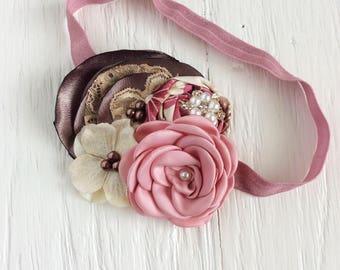 mauve pink brown ivory baby headband girl headband toddler headband flower headband matilda jane m2m flower infant headband newborn headband