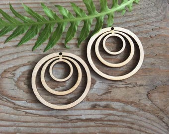 Wooden jewelry blanks / set of 20 / linked  circles cut outs / plywood jewelry supplies