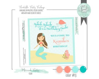 MERMAID SIGN. Birthday Party Printable PDF Welcome Door Sign. Multiple color options and hair color of choice