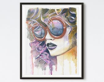 Painted Lady - Fashion Illustration - Art Prints - Fashion Art -  Watercolor - Watercolor Portrait - Fashion Wall Art - Fashion Print