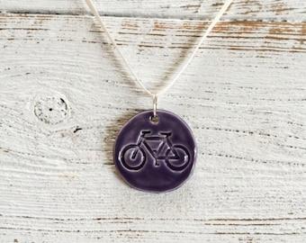 Purple Ceramic Bicycle Pendant, Bike Ride, Bicycles, Summer, Fun, Unique Gift, Ceramics, Bicycle Jewelry, Ceramic Jewelry
