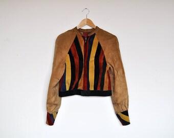 Unique Handmade Vintage Colorful Suede Leather Color Block Cropped Jacket