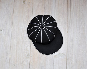 Vintage Black and White Striped Baseball Trucker Hat