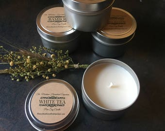 Choose 4 scents - 4 oz tin candle travel candles small candle gift set choose your scents travel tin candle Montana made candles and gifts