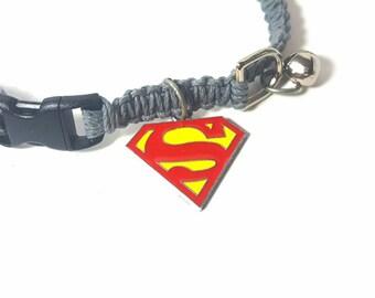 Pet Collar, Hemp Pet Collar, Cat, Small Dog, Kitten, Super Hero Charm Pendant, Adjustable, Boho Pet Collar, Gray or Red Collar, Superman