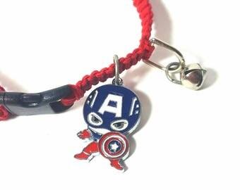 Pet Collar, Hemp Pet Collar, Cat, Small Dog, Kitten, Super Hero Charm Pendant, Adjustable, Boho Pet Collar, Gray, Red, Captan America