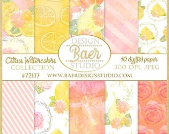 DIGITAL PAPER WATERCOLOR:Digital Paper Floral, Pineapple Digital Paper, Shabby Chic Digital Paper, Lemon Digital Paper, Bohemian Paper