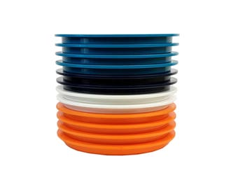 12 Dansk Gunnar Cyren MultiColor Plastic Lunch Plates // Orange, White, Turquoise & Navy Blue Vintage 70s Mod Picnic Stackable, Unbreakable