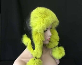 SPECIAL PRICE Russian FOX Fur Hat Women's Zimushka Aviator Pompoms Exotic Colors Black Leather Top Arctic Store®