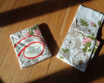 2 Vintage 100% Cotton Full Sized Flat Bed Sheets with rose floral border in Pink and Taupe in original packaging, Never Used, Mint Condition