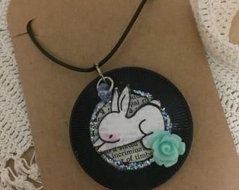 Handmade Rabbit Poker Chip Collage Necklace
