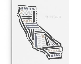 California State Art Print - Wall Decor - Giclee Print - West Coast Art