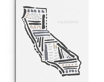 California State Art Print - Wall Decor - Giclee Print - West Coast Art