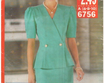 1993 - See Sew 6756 Vintage Sewing Pattern Sizes 6/8/10 Easy Top Skirt Suit Fitted Princess Seams Straight Shaped Hem Uncut