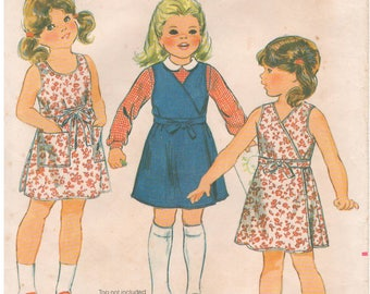 1980s - Butterick 4251 Vintage Sewing Pattern Girls Size 5 Fast Easy Wrap Dress Jumper V Neck Scooped Patch Pockets Sleeveless Semi Fitted