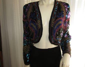 Vintage Ladies Bead/Sequin BOLERO Style Party JACKET by Lillie Rubin