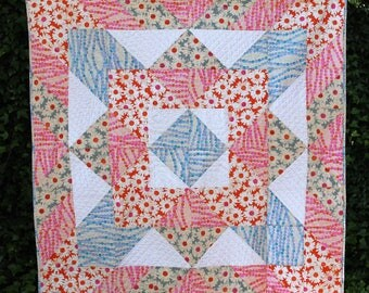 Modern Throw Quilt, Lap Quilt, Floral, Cotton and Steel Trinket Fabric, blanket, X Marks the Spot Quilt, Pink, Orange, Blue, White