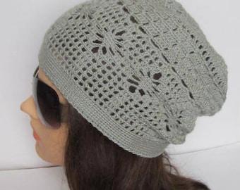 Crochet Summer Slouchy Beanie Women Spring Slouchy Hat Crochet Women Sun Slouchy Hats Grey Summer Slouchy Hat, Gray Slouchy Beanie Hat