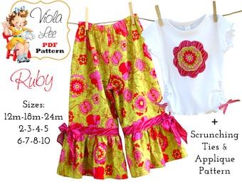 Ruby Girls Pant Pattern, Girls Ruffle Pants Pattern, Girls Sewing Pattern pants, Toddler pdf Sewing Pattern. Toddler Pants Pattern, Tutorial