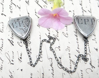 Antique Sterling Silver Sweater Clips Guard, Vintage Jewelry, Monogram CPF, Webster Co USA