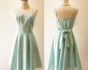 BFF - Spaghetti Straps Dress Petite Floral Dress Mint Blue Dress Swing Skirt Fit and Flare Rustic Wedding Dress Bridesmaid Summer Dress