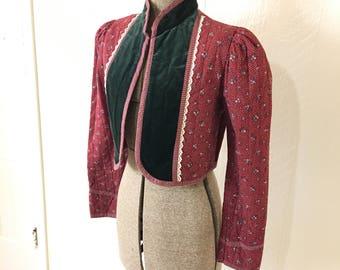 Vintage 70s Gunne Sax Cropped Quilted Jacket Velvet Floral
