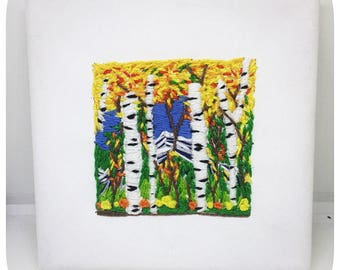 Aspens in Colorado, 5x5 Embroidered Canvas, Hand Embroidery