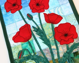 Batik Poppies Quilted Wall Hanging / Art Quilt, Pattern or Kit, by PingWynny